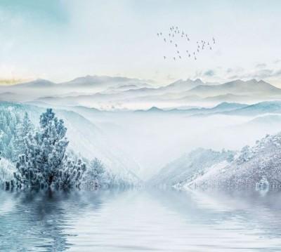 Шторы для ванной «Зимнее озеро»
