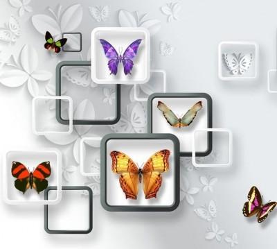 Шторы для ванной «Яркие бабочки на объемном фоне»