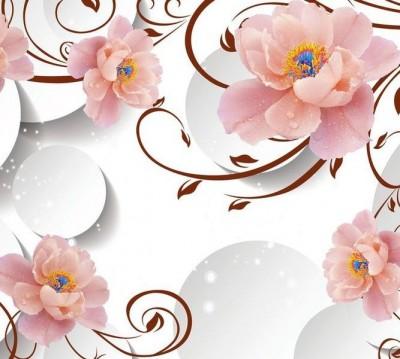 Шторы для ванной «Цветы с росой на объемном фоне»