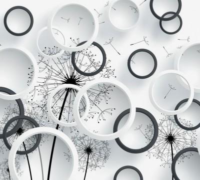 Шторы для ванной «Черно-белая объемная композиция с одуванчиками»