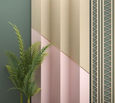 Шторы для ванной «Пальмовые ветви на объемной стене»