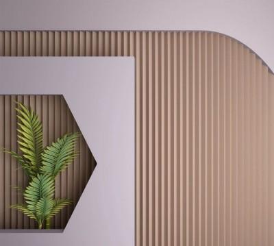 Шторы для ванной «Лаконичная композиция с пальмовыми ветвями»
