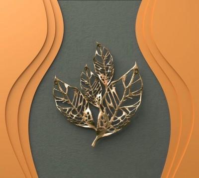 Шторы для ванной «Объемная стена с золотыми листьями»