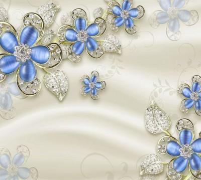 Шторы для ванной «Цветы с сапфировыми лепестками»
