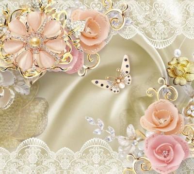 Шторы для ванной «Цветы с инкрустацией из драгоценных камней»