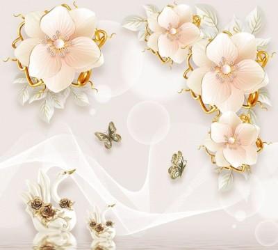 Шторы для ванной «Цветочная композиция с лебедями и бабочками»