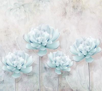 Шторы для ванной «Нежно-голубые керамические пионы»