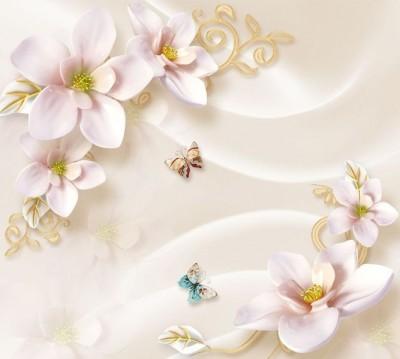 Шторы для ванной «Нежно-розовые керамические магнолии»