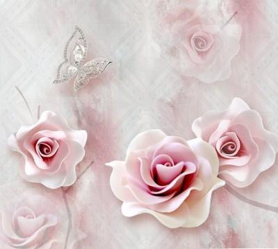 Шторы для ванной «Розы с ювелирной бабочкой»