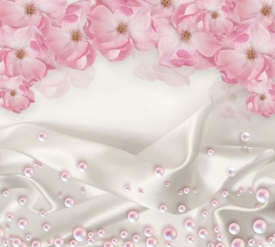 Шторы для ванной «Цветочная арка с розовым жемчугом»