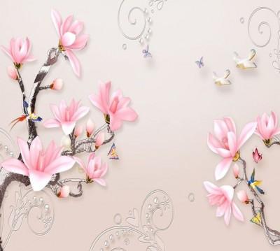 Шторы для ванной «Серебристые ветви розовых магнолий»