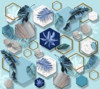 Шторы для ванной «Листья на мраморных шестиугольниках»