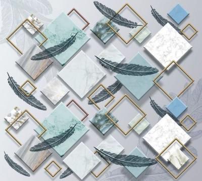 Шторы для ванной «Перья на мраморных ромбах»