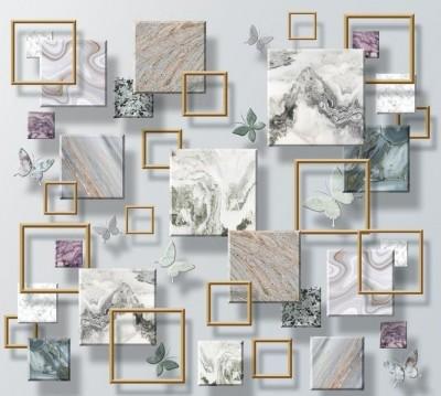 Шторы для ванной «Бабочки и мраморные квадраты»