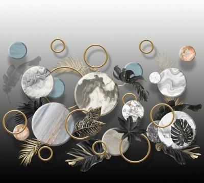 Шторы для ванной «Золотые листья с мраморными кругами»