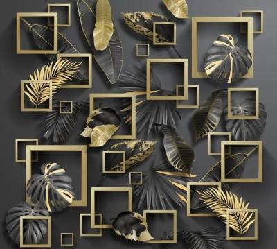 Шторы для ванной «Листья с золотыми квадратами»