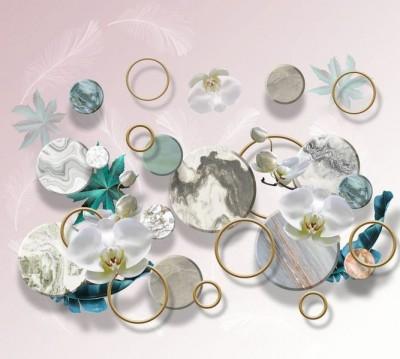Шторы для ванной «Орхидеи с кругами и перьями»