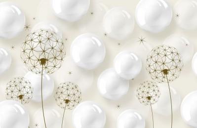 3D Ковер «Одуванчики с глянцевыми шарами»