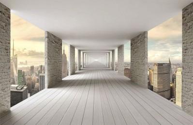3D Ковер «Открытый тоннель с видом на небоскребы»