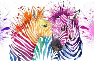 3D Ковер  «Акварельные зебры»