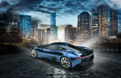 3D Ковер «Синее авто с видом на ночной город»