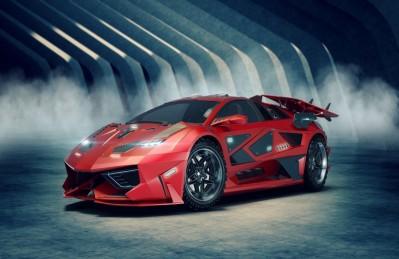 3D Ковер «Футуристичный красный автомобиль»