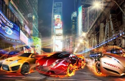 3D Ковер «Тачки с пылающими колесами на фоне Таймс Сквер»