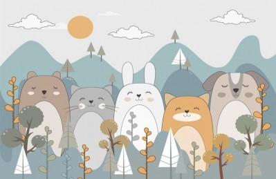 3D Ковер «Бирюзовые горы с животными»