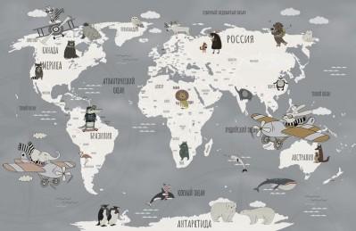 3D Ковер «Ретро карта с животными»