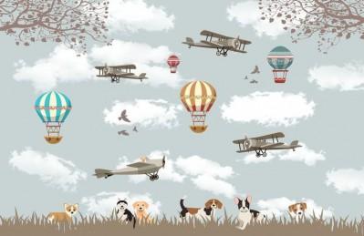 3D Ковер «Воздушные шары с собачками»