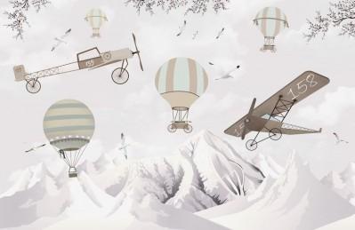 3D Ковер «Полеты над заснеженными горами»