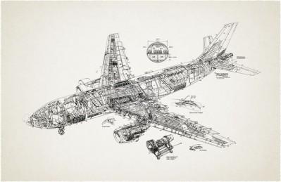 3D Ковер «Самолет чертеж»