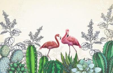 3D Ковер «Фламинго в кактусах»