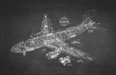 3D Ковер «Самолет чертеж на темном»