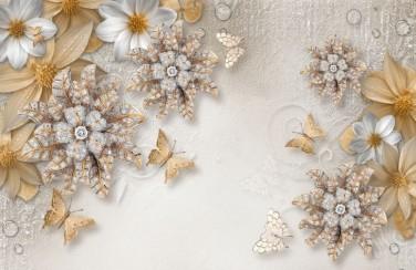 3D Ковер  «Объемные цветы со стразами и бабочками»