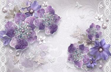 3D Ковер  «Ювелирные фиолетовые цветы»