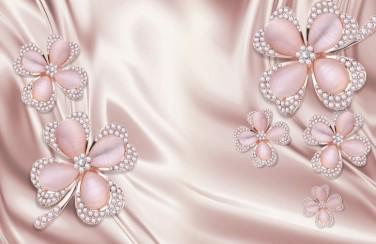 3D Ковер  «Клевер с бриллиантами в нежно-розовых тонах»