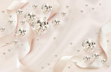 3D Ковер  «Сияющие бриллианты на шелковом фоне»