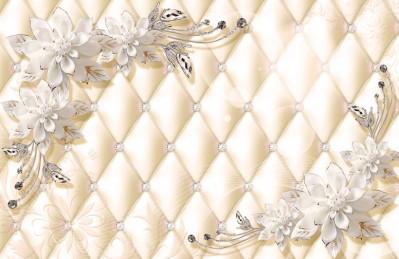 3D Ковер  «Керамические цветы на стеганом фоне»