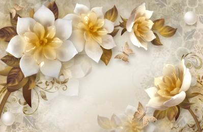 3D Ковер  «Красивые керамические цветы»