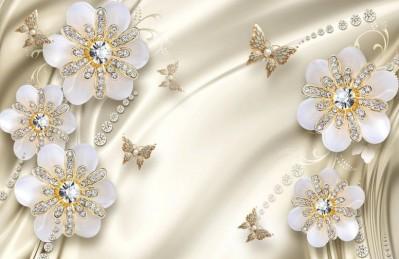3D Ковер «Цветы с бриллиантами на бежевом шелке»