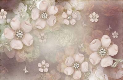 3D Ковер «Ювелирные яблоневые цветы»