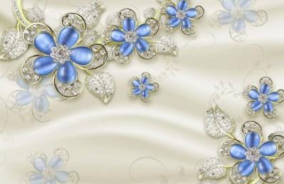 3D Ковер «Цветы с сапфировыми лепестками»