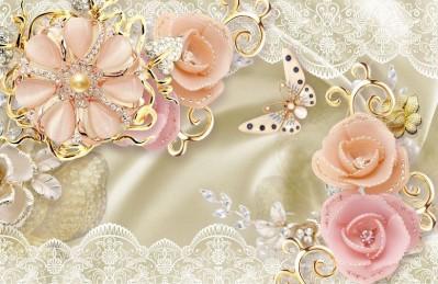 3D Ковер «Цветы с инкрустацией из драгоценных камней»