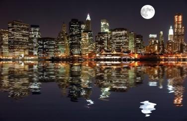 3D Ковер «Луна над ночным городом»