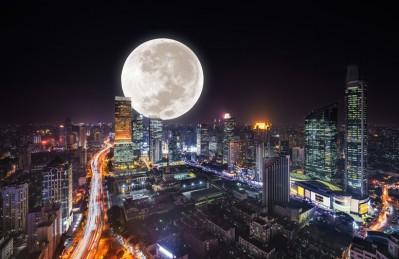 3D Ковер «Суперлуние над ночным городом»