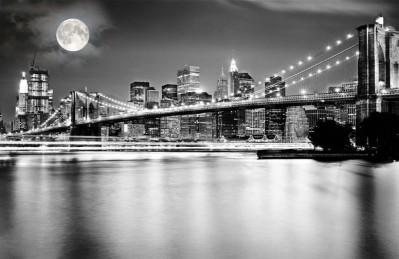 3D Ковер «Черно белая инсталляция с полной луной над бруклинским мостом»