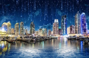 3D Ковер «Звездопад над ночным городом»