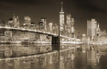 3D Ковер «Бруклинский мост сепия»