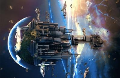 3D Ковер «Футуристический космический замок»